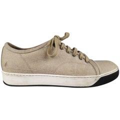 LANVIN Sneakers - Men's Size 8 Beige Woven Canvas Cap Toe Trainers