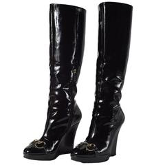 Gucci Patent Leather High Wedge Boots