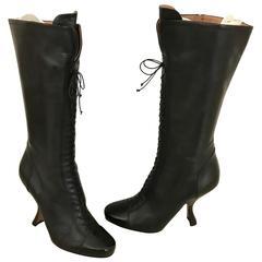 Vintage ALAIA black leather knee boot