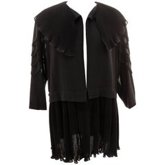 Jean Muir Black Wool Jacket with Micro Pleated Collar & Soutache Sleeves M