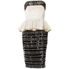 Carmen Marc Valvo Monte Carlo Beaded Dice Peplum Dress
