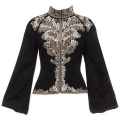 Alexander McQueen Black Wool Zip Front Embroidered Jacket, Circa 2004