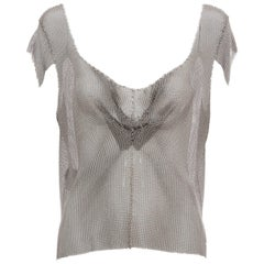 Prada Silver Chain Mail Top With Cap Sleeve, Fall 2002