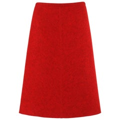 ALAIA c.1990's Red Boiled Wool Classic A-Line Skirt