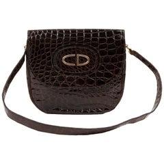 Vintage CHRISTIAN DIOR  Bag in Brown Crocodile Leather