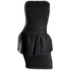 Yves Saint Laurent Rive Gauche 1980s Vintage Black Strapless Peplum Dress
