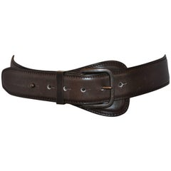 Alaia Coco Brown Calfskin with Brass Accent Leather Belt