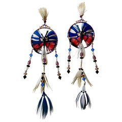 Valentino Resort Butterfly Dream Catcher Feather Shoulder Duster Earrings, 2016