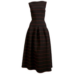 Azzedine Alaia long black knit dress with red lurex detail