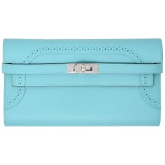 Hermes Ghillies Kelly Wallet in Blue Atoll PHW