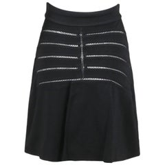 Alaia Black Stretch A-Line Mini Skirt W/Crochet Detail