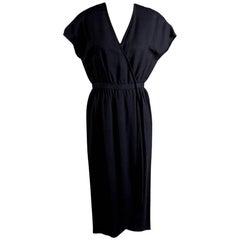 Halston Black Linen Dress with Cap Sleeves circa 1970s