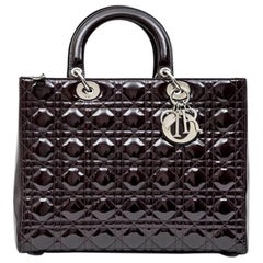 CHRISTIAN DIOR 'Lady Dior' Bag in Plum Patent Leather