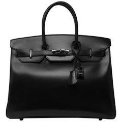 Hermes Birkin Bag 35cm So Black Box Calf BHW
