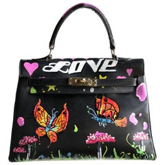 Black Leather Handbag With Custom LOVE Graffiti Art, 1950s