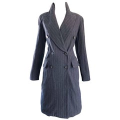New 1990s Charles Chang Lima Size 10 Double Breasted Gray Pinstripe Wool Dress