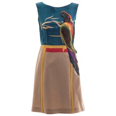 Prada Runway Sleeveless Silk Mohair Dress Applique Parrot Motif, Spring 2005
