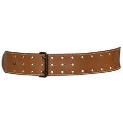 Vintage Alaia SS 1986 Cognac Leather Vented Belt
