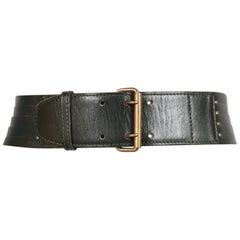 1990's AZZEDINE ALAIA darkest green leather belt with brass hardware