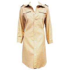 C J Laing Gold Tone Metallic Linen Blend Long Sleeve Button Front Dress