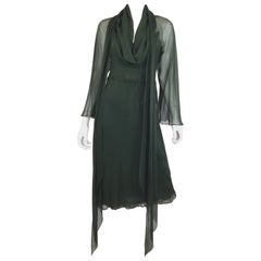Halston Chiffon Vintage Dress with Scarf