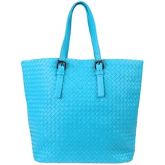 Bottega Veneta Extra Large Turquoise Aqua Intrecciato Nappa Tote Bag and Mirror