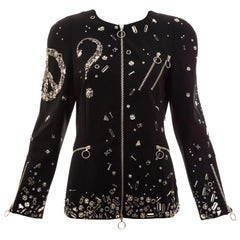 Moschino Couture Black Safety Pin Zip Front Jacket, Fall 2009