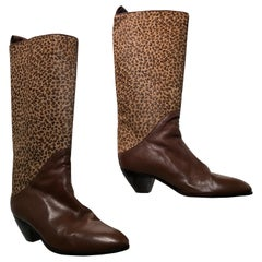 1980s Miss Maud Frizon Paris Leopard & Leather Western Boots