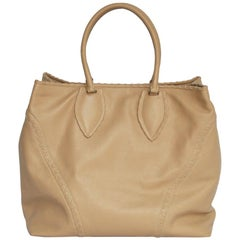 ALAÏA Large Tote Bag in Beige Grained Leather