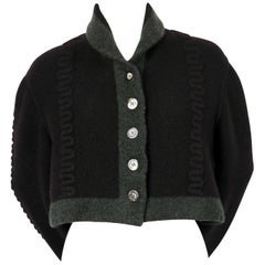 AZZEDINE ALAIA navy blue and green wool cropped cardigan sweater, 1994
