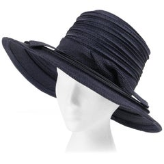 CHRISTIAN DIOR Chapeaux c.1960's Navy Blue Raffia Twisted Bow Cartwheel Hat