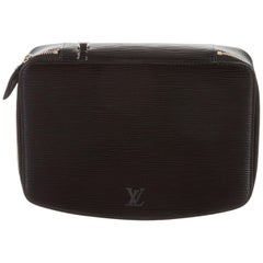 Louis Vuitton Black Leather Men's Jewelry Accessory Travel Storage Case Bag