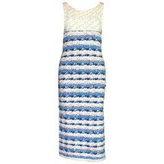 Stunning Chanel Signature Gripoix Buttons Crochet Knit Dress Gown