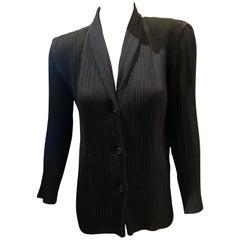 """1990s Issey Miyake Black """"Pleats Please"""" Vintage Jacket Blouse Blazer Size Large"""