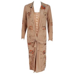 1920's Arthur Weiss Couture Metallic Art Deco Embroidered Silk Long-Sleeve Dress