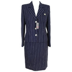 Valentino Blu Wool Pinstripe Dress Suit and Matching Jacket New 1990s