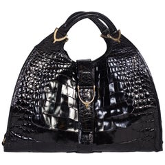 1970s Crocodile Belly Original Gucci Stirrup Bag