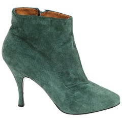 1990's AZZEDINE ALAIA green suede ankle boots