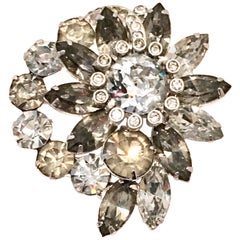 20th Century Silver & Swarovski Crystal Abstract Floral Brooch By, Eisenberg Ice