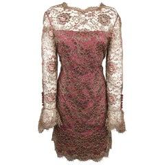 TOMASZ STARZEWSKI Size 10 Burgundy Metallic Lace Long Sleeve Cocktail Dress