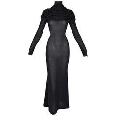 F/W 1998 Alexander McQueen Joan Sheer Black Knit L/S Catholic Gown Dress