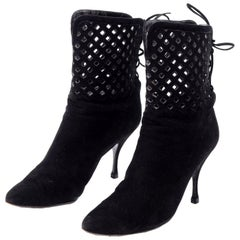 Vintage Alaia Black Suede Boots in Cutout Corset Style Lace Up Booties Size 37.5