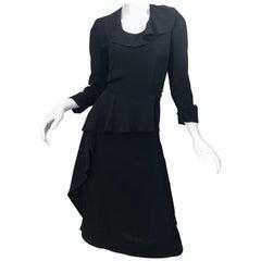 1940s Black Crepe Long Sleeve Chic Asymmetrical Peplum Vintage 40s Dress