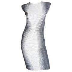 Alexander McQueen 2009 Optical Illusion Striped Dress Runway