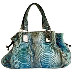 "21st Century Michael Kors Blue Python Leather & Chrome ""Rehearsal""  Hand Bag"