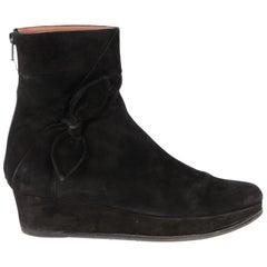 2000s Alaia Paris Black Suede Half-Boots