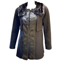 Louis Vuitton Paris Mink Collar Ladies Black Wool Coat Size 38 US Size 6