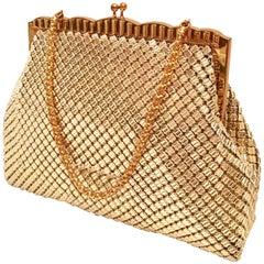 20th Century Gold Metal Mesh & Chain Ling Handbag By, Whiting & Davis