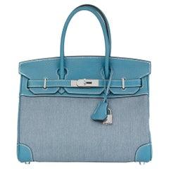 2007 Hermès Blue Jean Clemence Leather & Denim Birkin 30cm