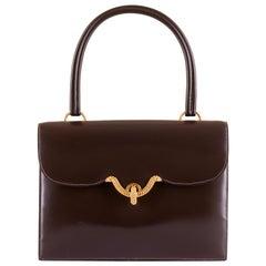 Rare Vintage Hermes 'Sac Cordeliere' in Dark Brown Box Leather & Gold Hardware